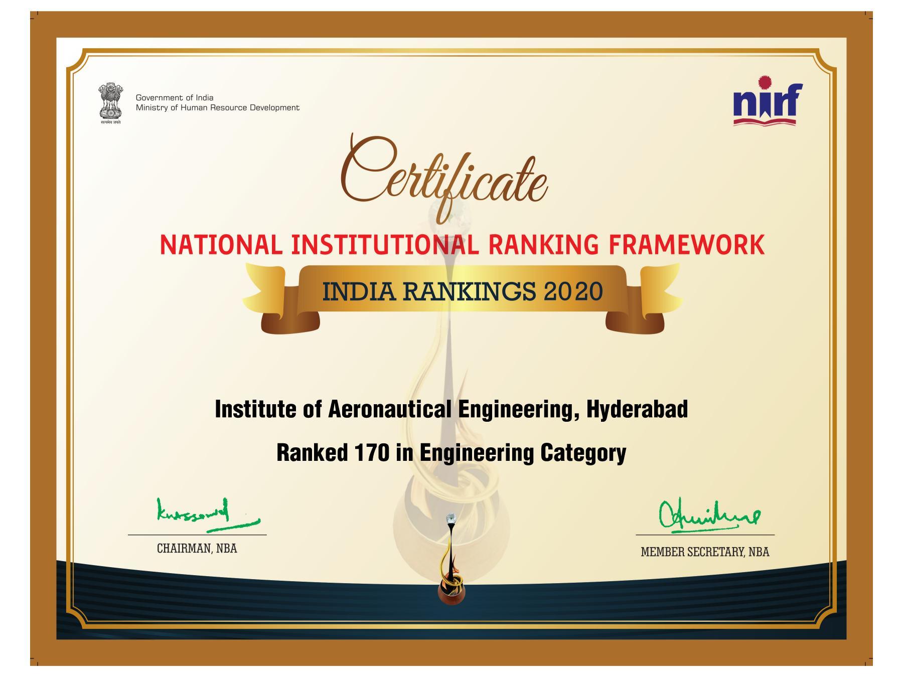 IARE NIRF2020 Certificate